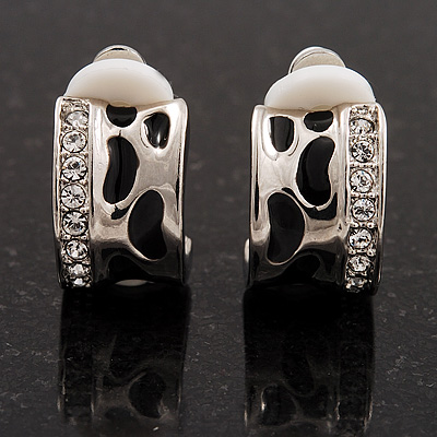 Small C-Shape Diamante Animal Print Clip On Earrings (Silver Tone) - main view
