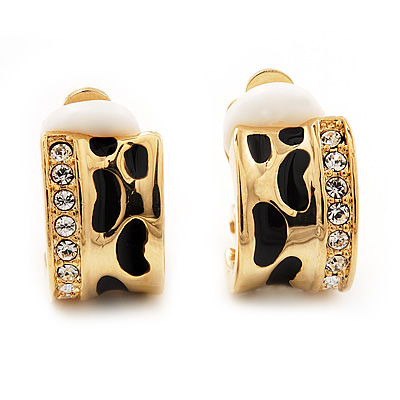 Small C-Shape Diamante Animal Print Clip On Earrings (Gold Tone) - main view