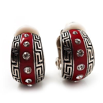 Small C-Shape Greek Style Red Enamel Clip On Earrings (Silver Tone)