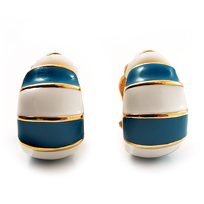 Small C-Shape Stripy Teal & White Enamel Clip On Earrings (Gold Tone)