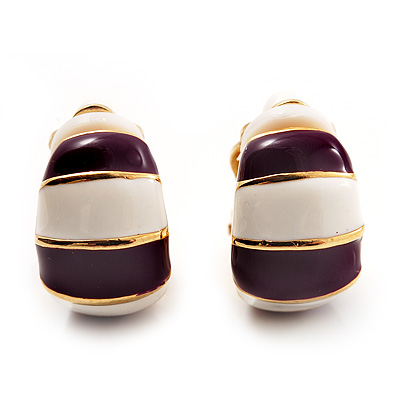 Small C-Shape Stripy Purple & White Enamel Clip On Earrings (Gold Tone)