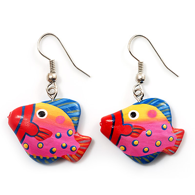 Funky Multicoloured Wood Fish Drop Earrings (Deep Pink, Yellow, Blue) - 3.5cm Length