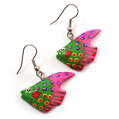 Funky Multicoloured Wood Fish Drop Earrings (Green & Pink) - 3.5cm Length