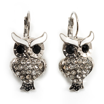 Silver Tone Crystal Owl Drop Earrings