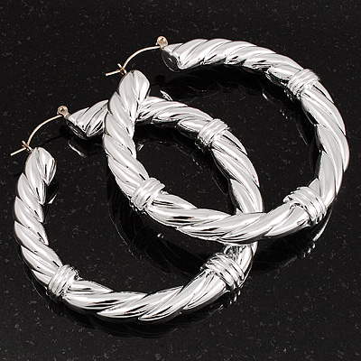 Silver Tone Twisted Hoop Earrings - 6cm Diameter
