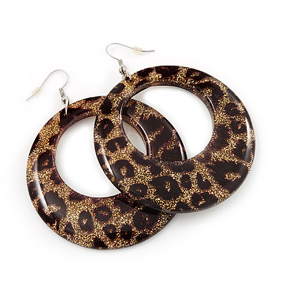 Leopard Print Acrylic Hoop Earrings (Silver Tone Metal) - 6cm Diameter - main view