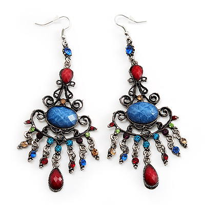 Antique Silver Multicoloured Crystal Chandelier Earrings - 11cm Length