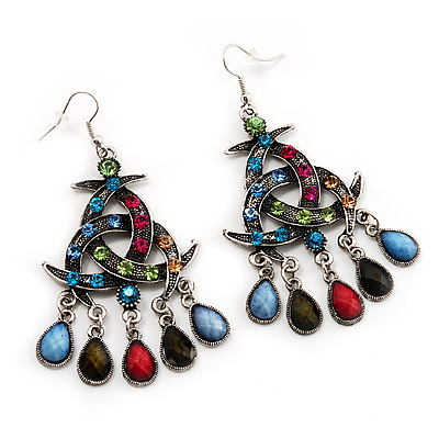 Antique Silver Multicoloured Crystal Chandelier Earrings - 8cm Length