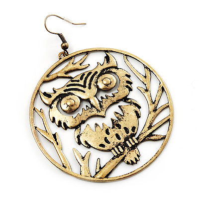 Bronze Tone &#039;Owl&#039; Hoop Earrings -7.5cm Drop