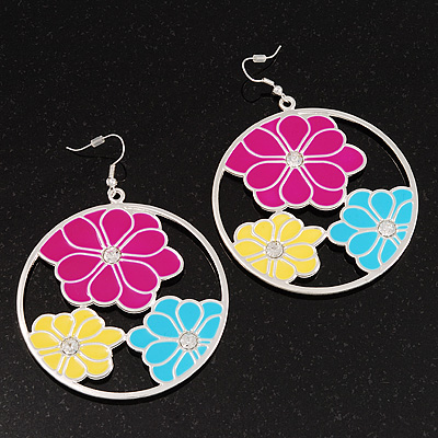 Multicoloured Floral Enamel Hoop Earrings (Silver Tone Metal) - 6cm Diameter