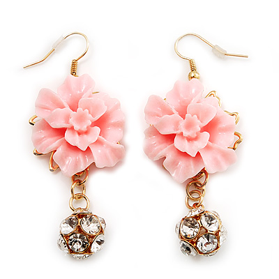 Gold Tone Pale Pink Acrylic Flower Drop Earrings - 6cm Length