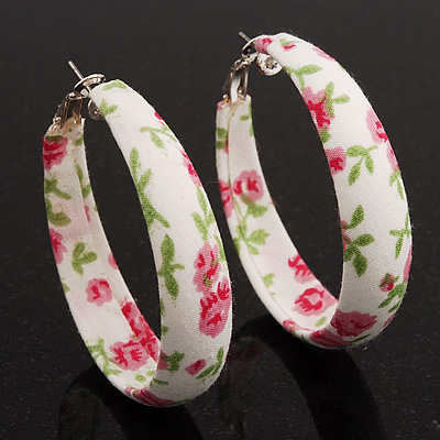 Floral Pattern Fabric Hoop Earrings - 4.5cm Diameter