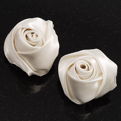 Large Bridal Fabric Rose Stud Earrings (Silver Tone Finish) - 3cm Diameter - main view
