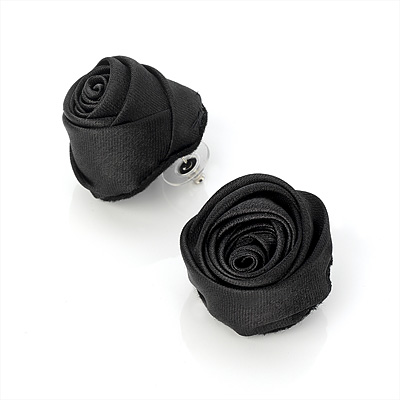 Large Stylish Fabric Rose Stud Earrings (Silver Tone Finish) - 3cm Diameter - main view