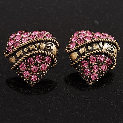 Antique Gold Pink Crystal 'Love' Heart Stud Earrings -2.5cm Diameter