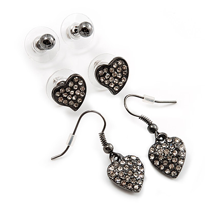 Gun Metal Ball (4mm) & Heart Stud (10mm) & Heart Drop (3cm) Earrings Set