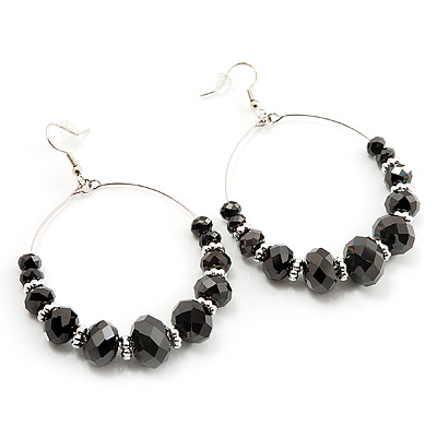 Black Glass Bead Hoop Earrings (Silver Tone Finish) - 5cm Diameter