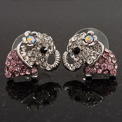 Tiny Crystal Elephant Stud Earrings (Silver Tone Metal)