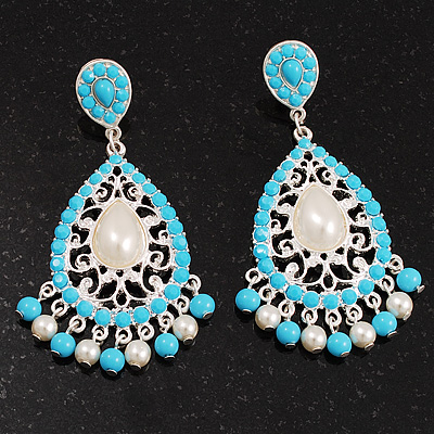 Silver Plated Filigree Turquoise &amp; Pearl Style Chandelier Earrings - 7cm Drop