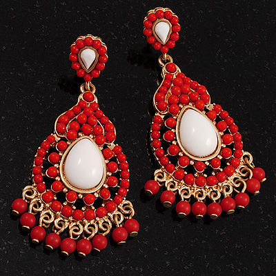Gold Plated Coral Style Bead Chandelier Earrings - 6.5cm Drop - main view