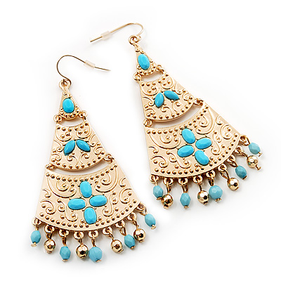 Gold Plated Hammered Turquoise Coloured Acrylic Bead Chandelier Earrings - 8cm Drop