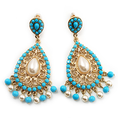 Gold Plated Filigree Turquoise &amp; Pearl Style Chandelier Earrings - 7cm Drop