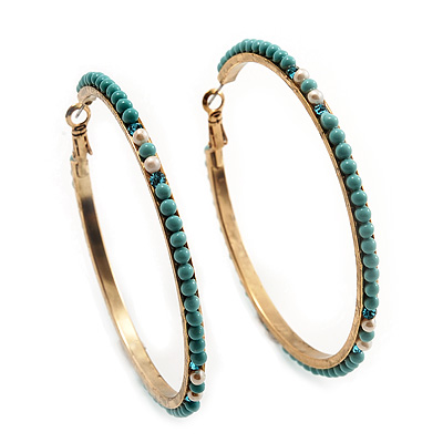 Gold Plated Turquoise Coloured Glass Bead Hoop Earrings - 6.5cm Diameter