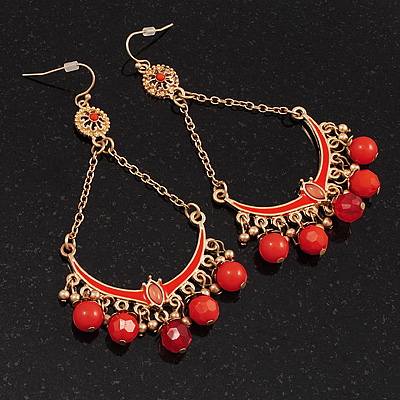 Gold Plated Coral Bead Chandelier Earrings - 8cm Drop - main view