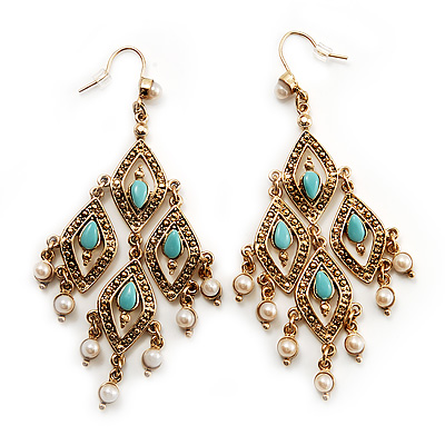 Gold Tone Turquoise &amp; Pearl Style Chandelier Earrings - 8.5cm Drop