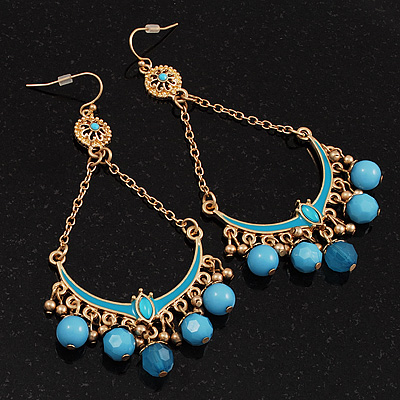Gold Plated Light Blue Bead Chandelier Earrings - 8cm Drop