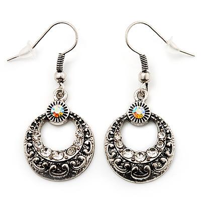 Vintage Hammered Diamante Round Drop Earrings (Burn Silver Metal & Clear Crystals) - 4cm Length