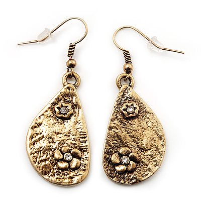 Teardrop Textured Floral Drop Earrings In Gold Tone Metal - 5cm Length