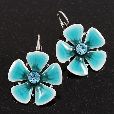 Light Teal Enamel Daisy Drop Earrings (Silver Plated Metal) - 3cm Length