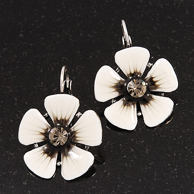 White/Black Enamel Daisy Drop Earrings (Silver Plated Metal) - 3cm Length