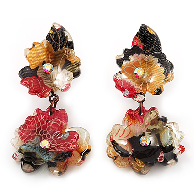 Exquisite Double Flower Acrylic Drop Earrings (Red, Black & Brown) - 6cm Length - main view