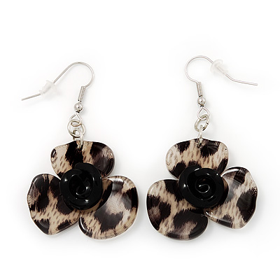 Animal Print Flower Acrylic Drop Earrings (Silver Tone Finish) -5.5cm Length