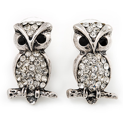 Antique Silver Crystal Owl Stud Earrings - 2.5cm Length