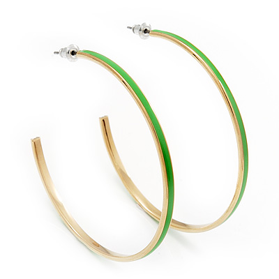 Grass Green Enamel Thin Hoop Earrings (Gold Plated Metal) - 6cm Diameter
