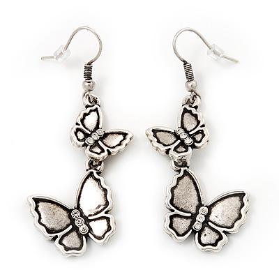 Antique Silver Metal Double Butterfly Drop Earrings - 5.5cm Length