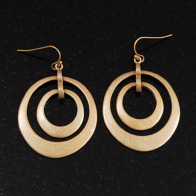 Double Hoop Matt Gold Earrings - 5cm Drop