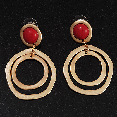Matt Gold Tone Double Hoop Coral Stone Drop Earrings - 5cm Length