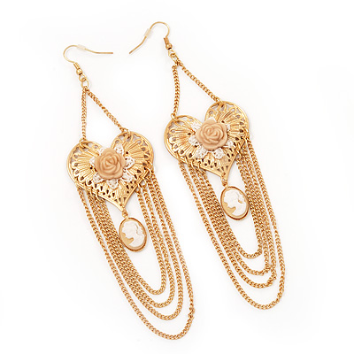 Long Chain 'Cameo' Heart Drop Earrings (Gold Plated Metal) - 13cm Length - main view