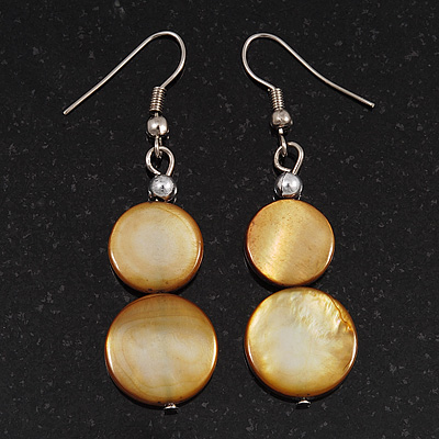 Round Double Shell Drop Earrings (Brass Coloured) - 5cm Length