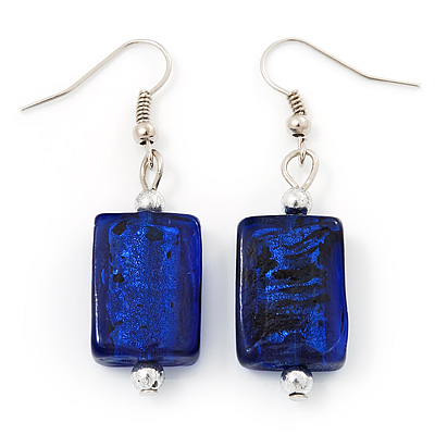 Navy Blue Square Glass Drop Earrings - 4.5cm Length