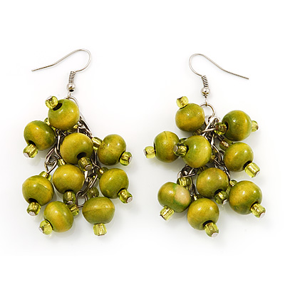 Wood Olive Cluster Drop Earrings (Silver Tone Metal) - 6.5cm Length