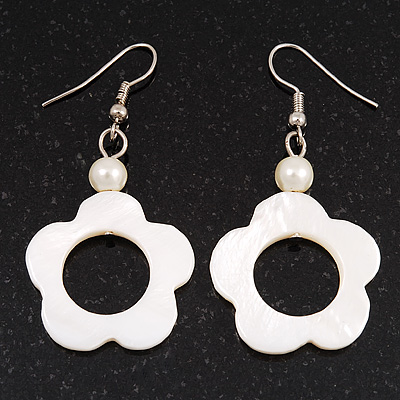 White Open Flower Shell Drop Earrings (Silver Metal Finish) - 5.5cm Drop