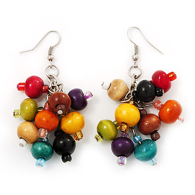 Wood Multicoloured Cluster Drop Earrings (Silver Tone Metal) - 6.5cm Length
