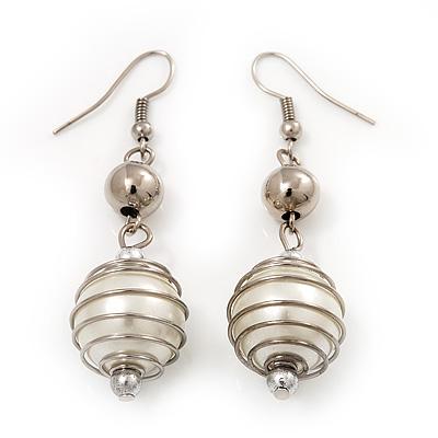 Silver Tone White Faux Pearl Drop Earrings - 5.5cm Drop