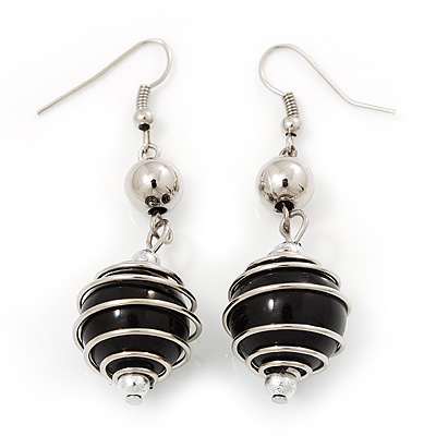 Silver Tone Black Faux Pearl Drop Earrings - 5.5cm Drop
