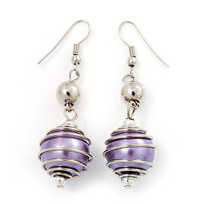 Silver Tone Purple Faux Pearl Drop Earrings - 5.5cm Drop